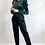 Thumbnail: Emerald Green Long Sleeve Velour Top With Gold Button Detail
