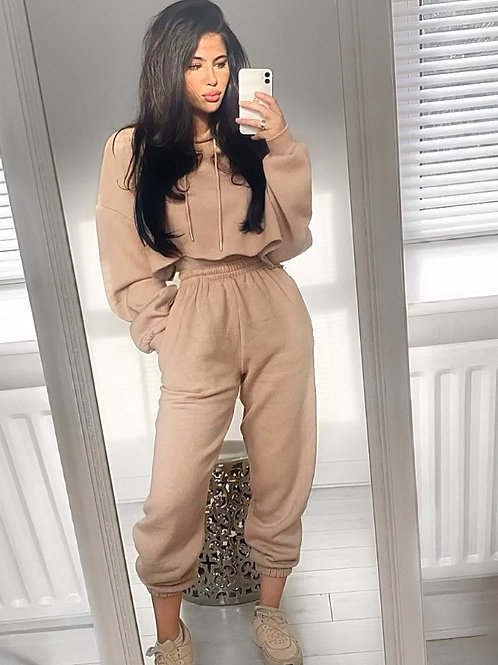 Premium Toffee Crop Hoodie and Joggers With Elasticated Waist and Cuff