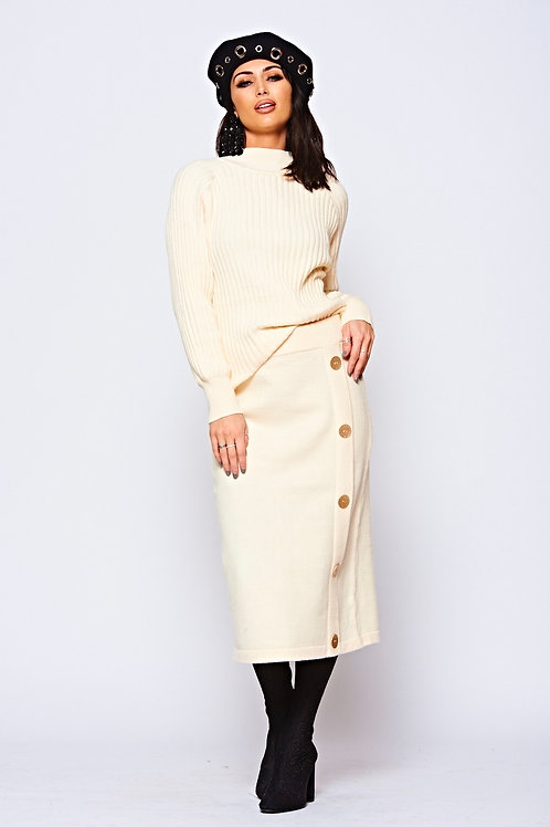 Cream Ribbed Coord With Gold Metallic Button Detailing