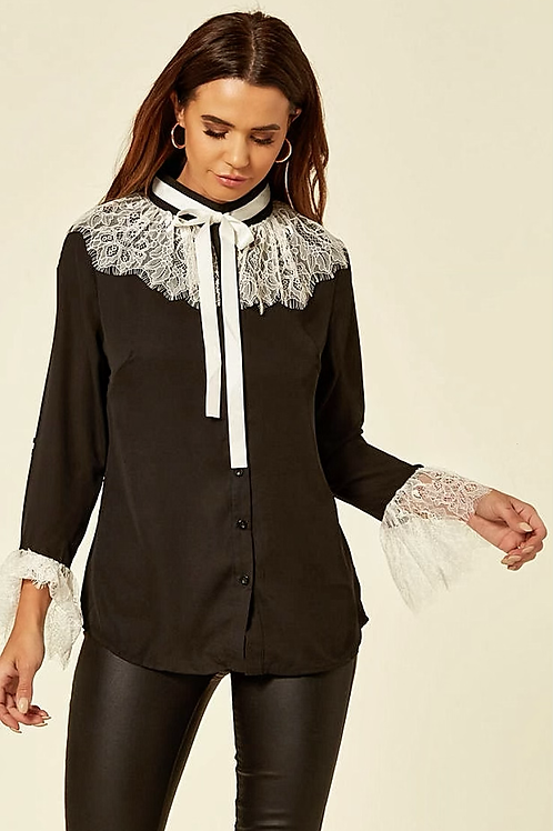 Black Long Sleeve Shirt With Contrasting White Tie Neck and Lace Trims
