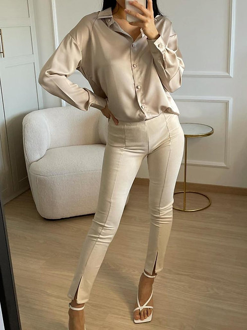 Beige Suede Trouser With Front Vent Splits