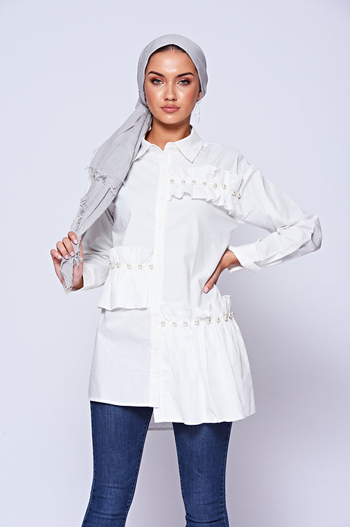White Long Frilled Pearl Shirt