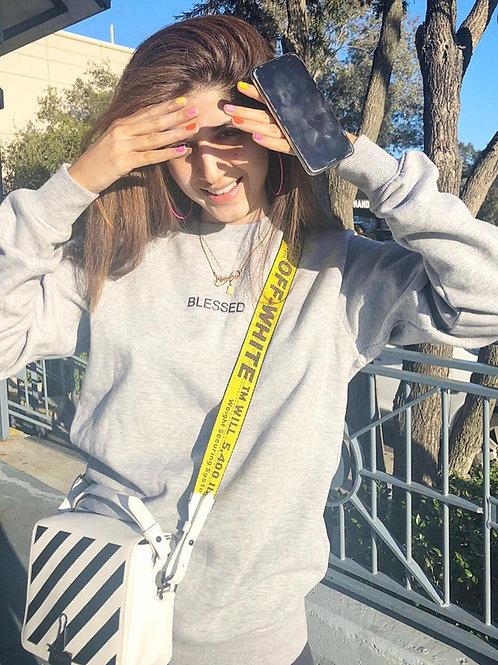 'BLESSED' Slogan Grey Crew Neck Sweatshirt