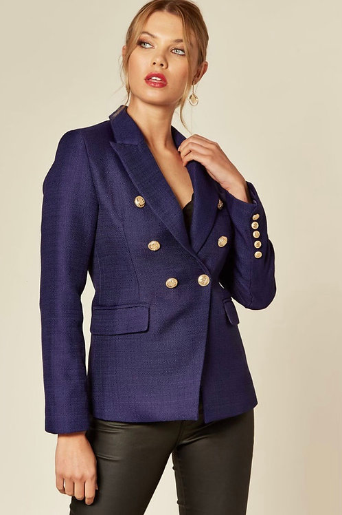 Royal Blue Double Breasted Tweed Blazer With Gold Buttons