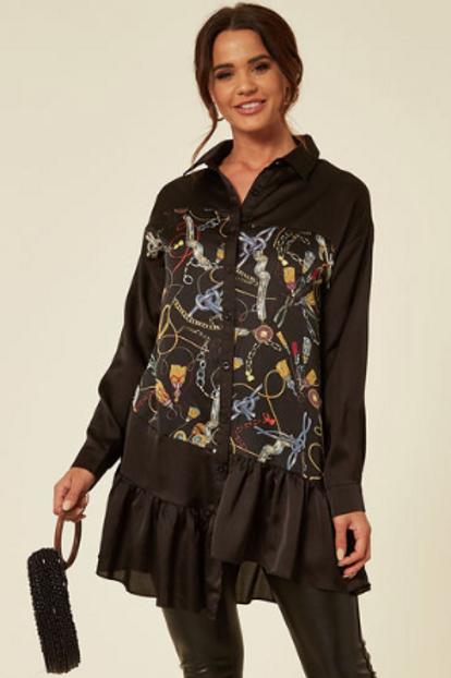 Black Satin Feel Shirt With Chain Print And Asymmetric Ruffle Hem