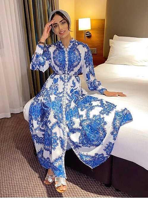 Premium Sky Blue Paisley Print Maxi Dress With Exaggerated Sleeves