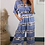 Thumbnail: Sky Blue Satin Stretch Printed Short Sleeve Jumpsuit With Elasticated Waistband