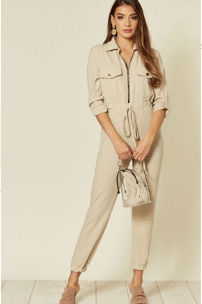 Stone Roll-Back Sleeve, Zip-up Stretch Boilersuit With Tie Wais