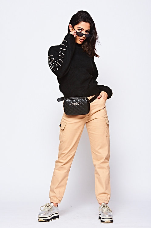 Beige Cargo Pant With Front Pockets And Elasticated Cuff