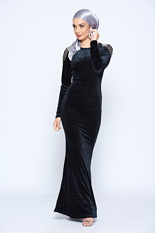 Black Velour Long Sleeve Maxi Dress With Diamonte Embellished Shoulder Detailing