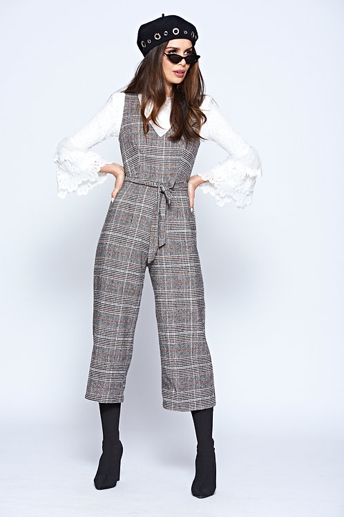Grey Checked Woven V Neck Sleeveless Jumpsuit With Belt Fastening