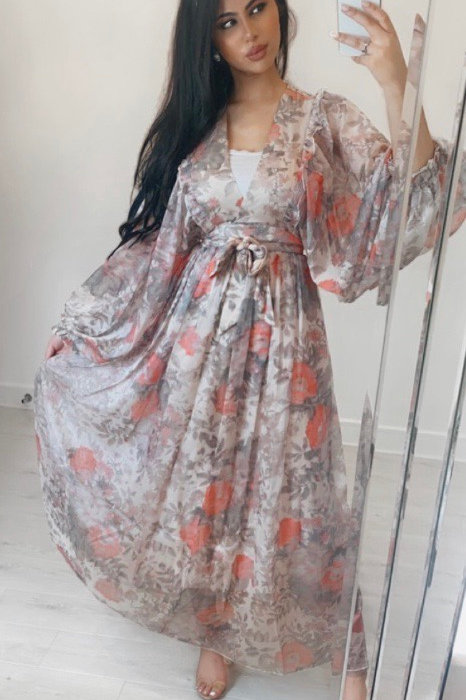 Ivory Fully Lined Chiffon Floral Maxi Dress With Balloon Sleeves And Belt