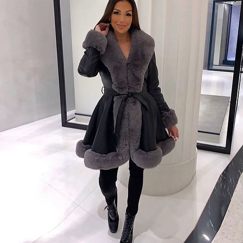 Black Leather Look Long Coat With Contrast Grey Faux Fur