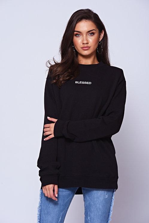 'BLESSED' Slogan Black Crew Neck Sweatshirt
