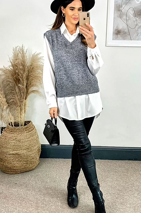 White Shirt With Detachable Grey Sleeveless Knitted Vest