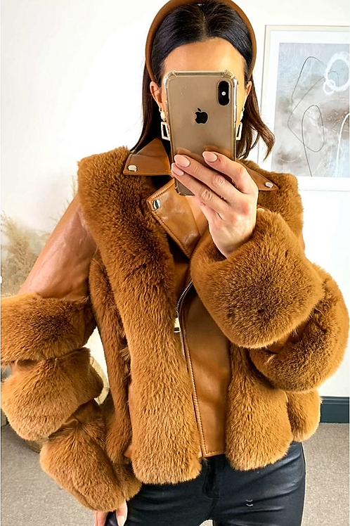 Tan Faux Leather Biker Jacket With Faux Fur Paneled Trims
