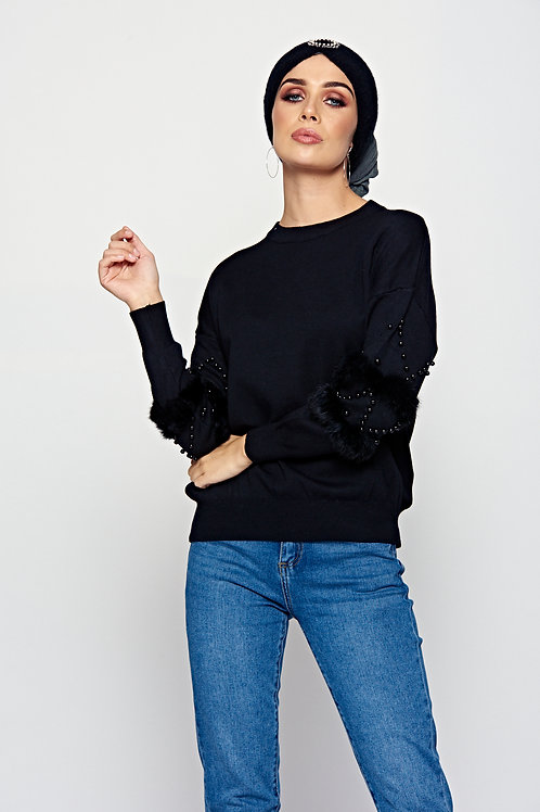 Black Knitted Jumper With Faux Fur And Stud Detail To Sleeves