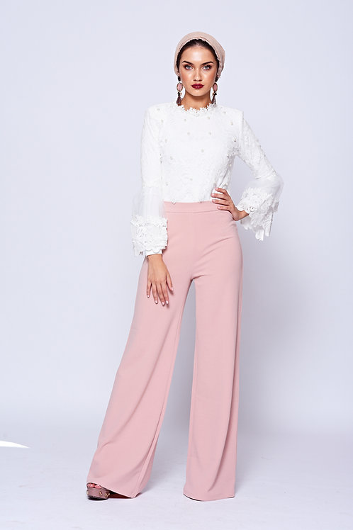 Dusty Pink High Waisted Stretch Wide Leg Trousers