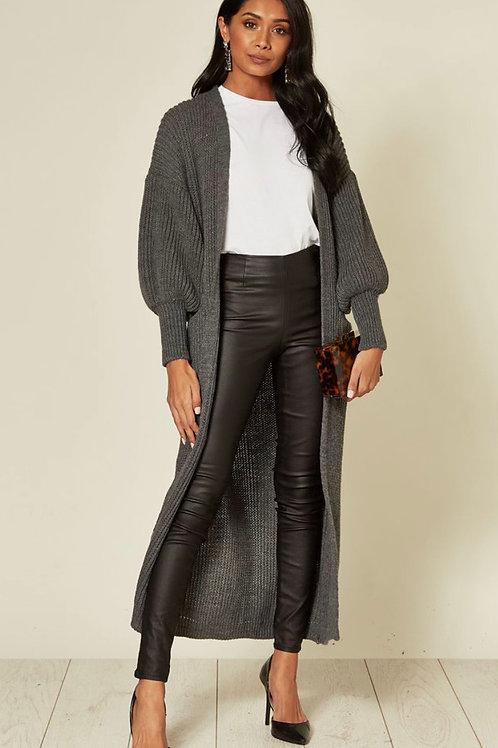 Steel Grey Balloon Sleeve Maxi Cardigan With Front Pockets