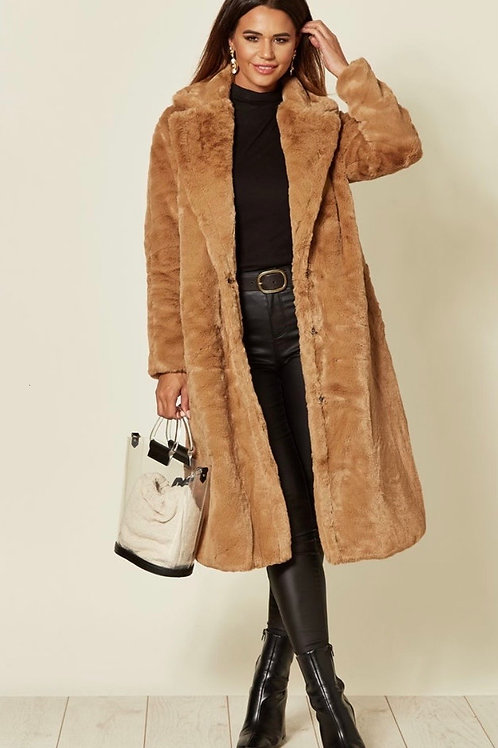 Camel Faux Fur Long Coat With Pockets