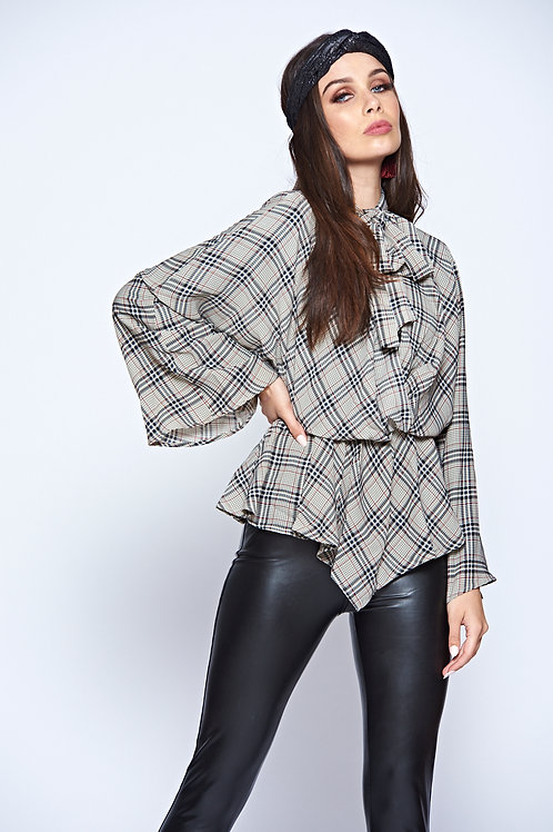 Checked Long Sleeve V Neck Long Flowy Blouse With Tie Neck And Elasticated Waist