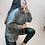 Thumbnail: Grey Contrast Check Long Length Hoodie