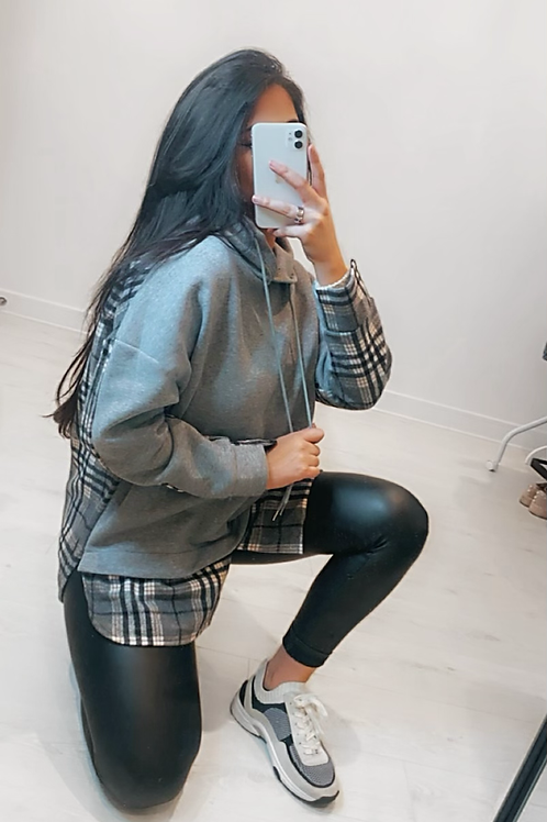 Grey Contrast Check Long Length Hoodie