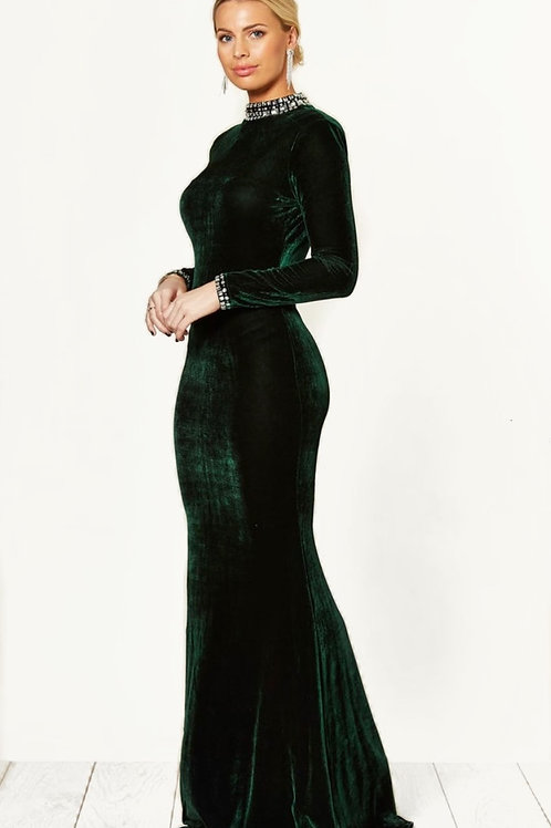 Emerald Green High Neck Velour Maxi Dress With Jewel Detailed Trims