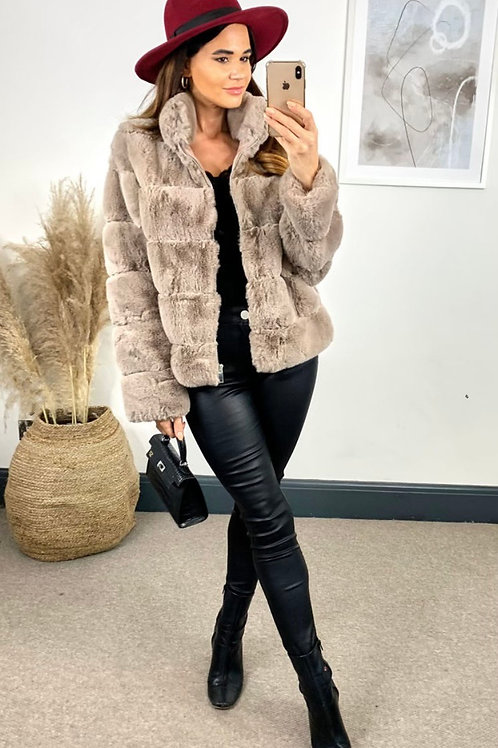 Premium Mink Faux Fur Zip Through Jacket