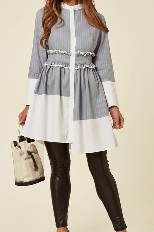 Dusky Blue Long Vertical Striped Shirt With Contrast Hem And Collar And Pompom