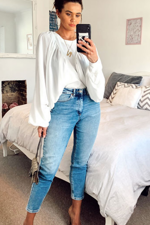 White Blouse With Batwing Sleeves