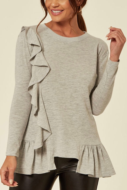 Grey Long Sleeve Tshirt With Ruffle Detail