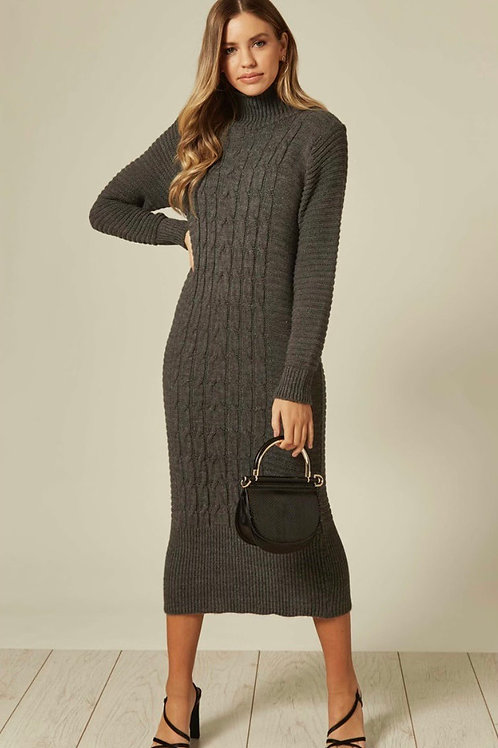 Grey Long Sleeve Knitted Maxi Dress With High Neck