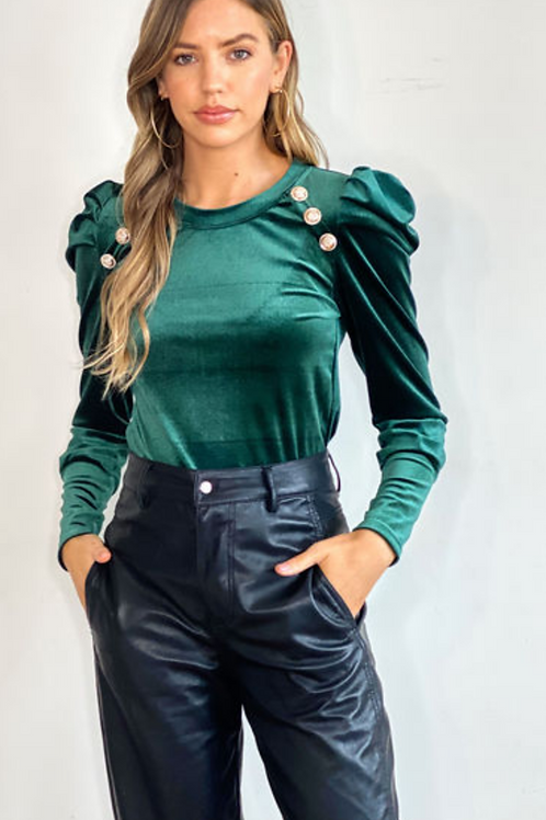Emerald Green Long Sleeve Velour Top With Gold Button Detail