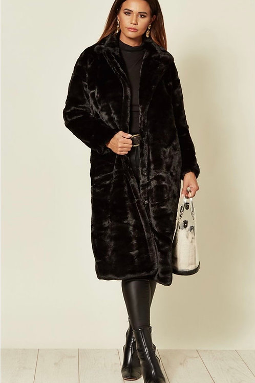 Black Faux Fur Long Coat With Pockets