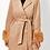 Thumbnail: Beige Melton Feel Long Coat With Detachable Faux Fur Collar, Cuffs and Belt