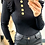 Thumbnail: Black Ribbed High Neck Top With Frill Trim and Gold Button Detail