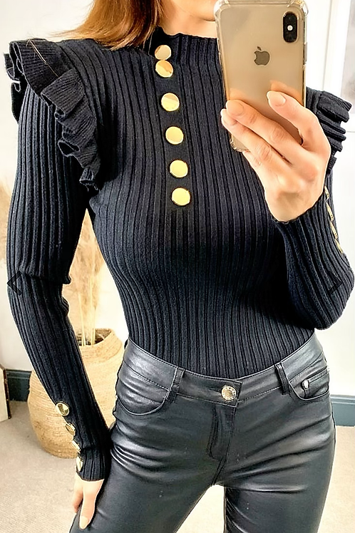 Black Ribbed High Neck Top With Frill Trim and Gold Button Detail