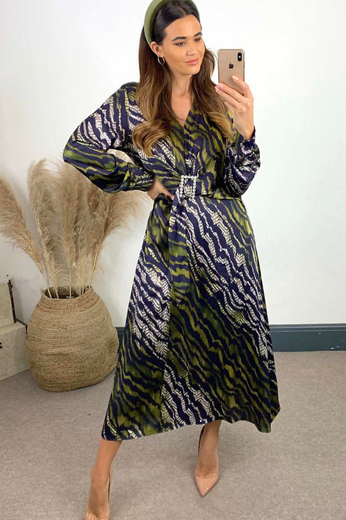 Green and Navy Satin Feel Animal Print Maxi Dress With Diamonte Belt Detail