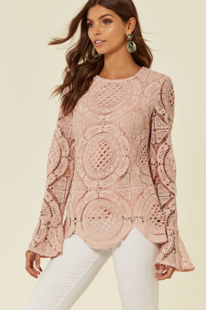 Pastel Pink Crotchet Long Sleeve Top With Fluted Sleeve