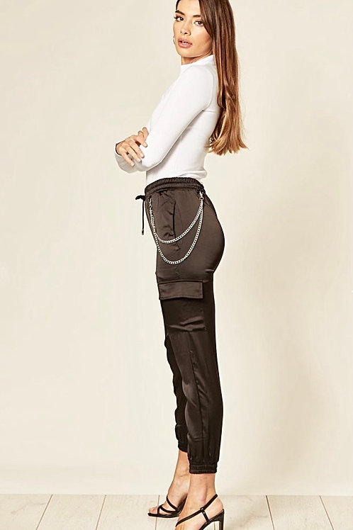 Black Satin Cargo Trousers With Detachable Silver Chain