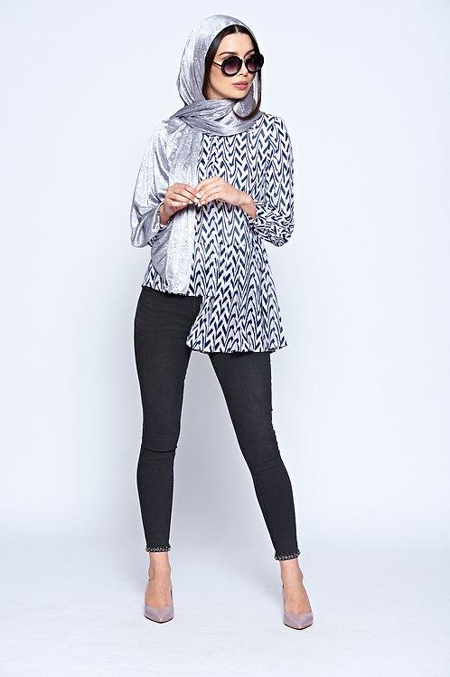 Lilac Long Sleeve Geometric Print Sheer Shirt With Asymmetric Hem