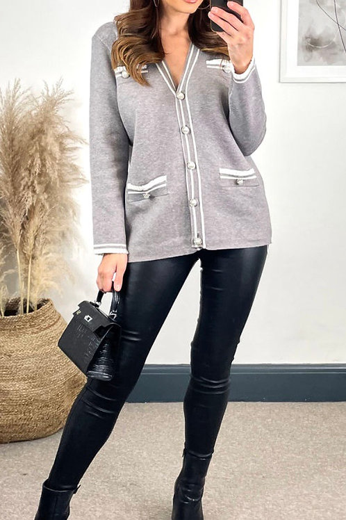 Grey Cardigan With White Contrast Detail and Pearl Buttons