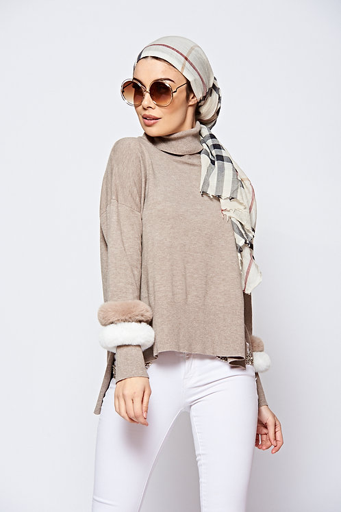 Oatmeal Roll Neck Jumper With Contrasting Faux Fur Sleeve Cuffs