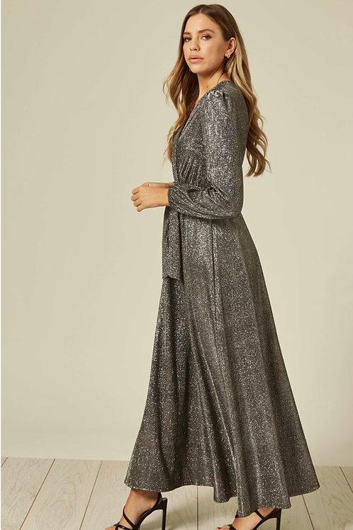 Silver Glitter Long Sleeve Maxi Dress With Tie Belt