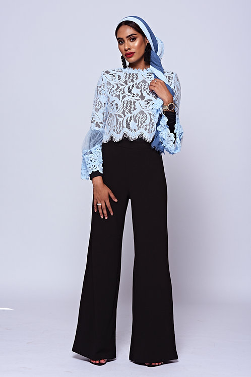 Black High Waisted Stretch Wide Leg Trousers