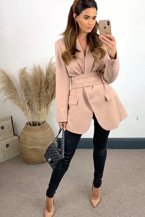 Dusky Pink Oversized Blazer With Front Pockets And Detachable Belt Bag