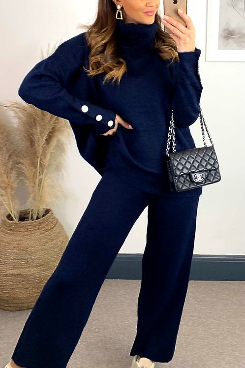 Navy Knitted High Neck Jumper With Jewel Cuff And Straight Leg Trousers