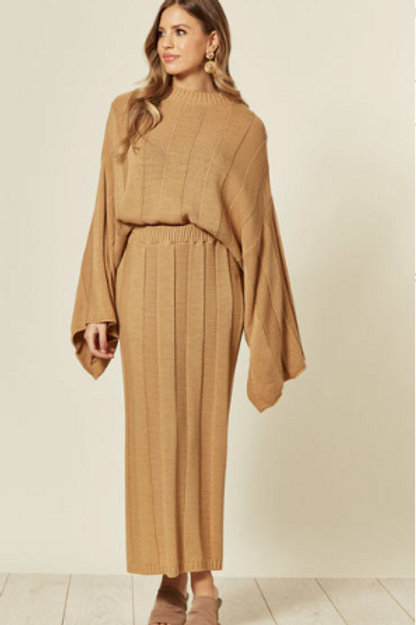 Camel Knitted Co-Ord With Round Neck And Skirt