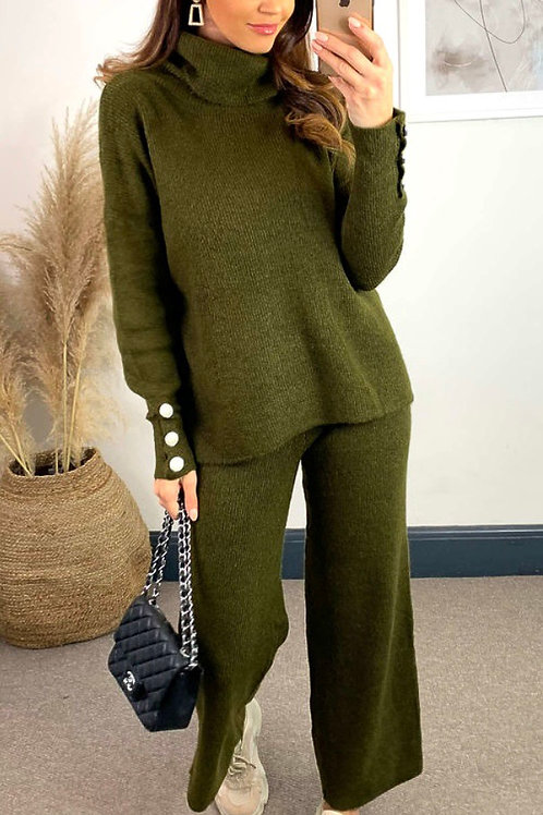 Khaki Knitted High Neck Jumper With Jewel Cuff And Knitted Straight Leg Trousers